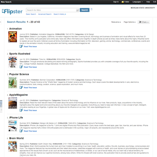 Browse magazines in Flipster