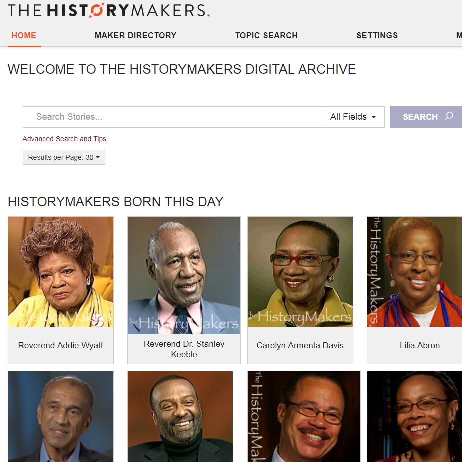 Screenshot of History Makers Digital Archive homepage