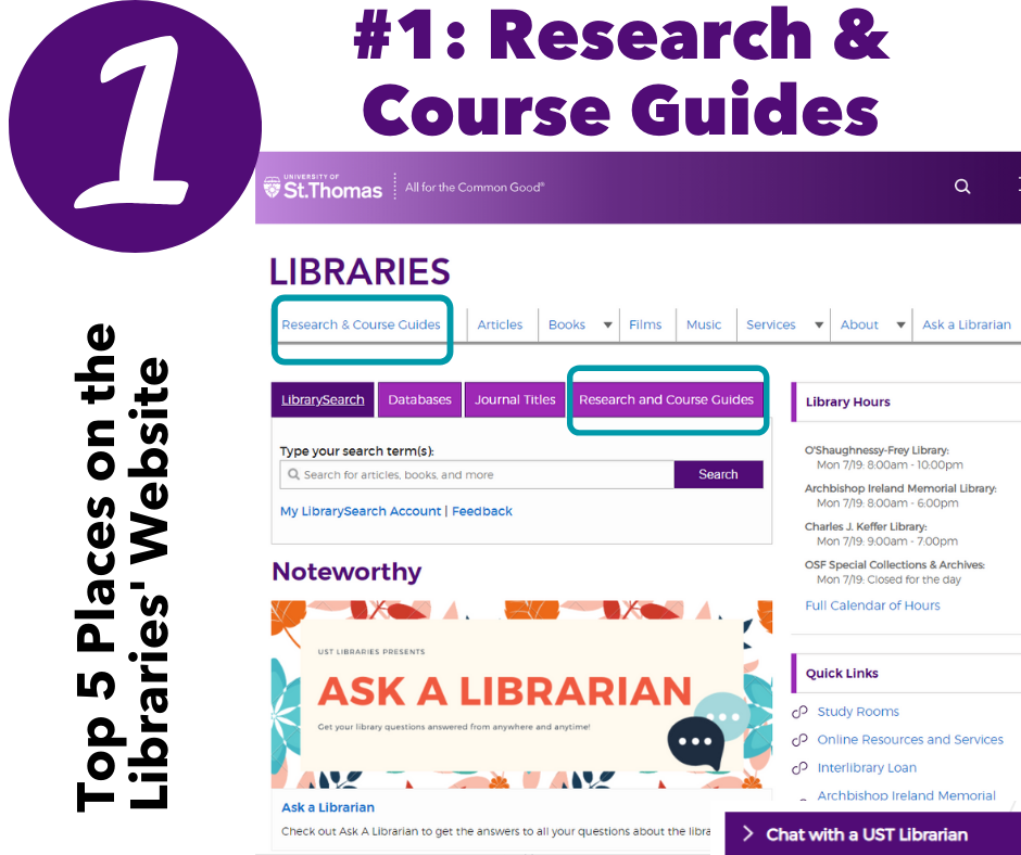 1: Research & Course guides - screen shot of libraries' webpage with