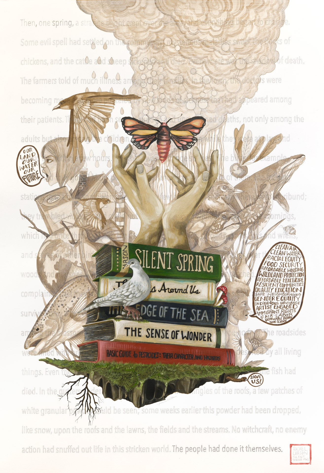 illustration by Jessica Turtle depicting a stack of classic environmental books along with insects, birds, and plants