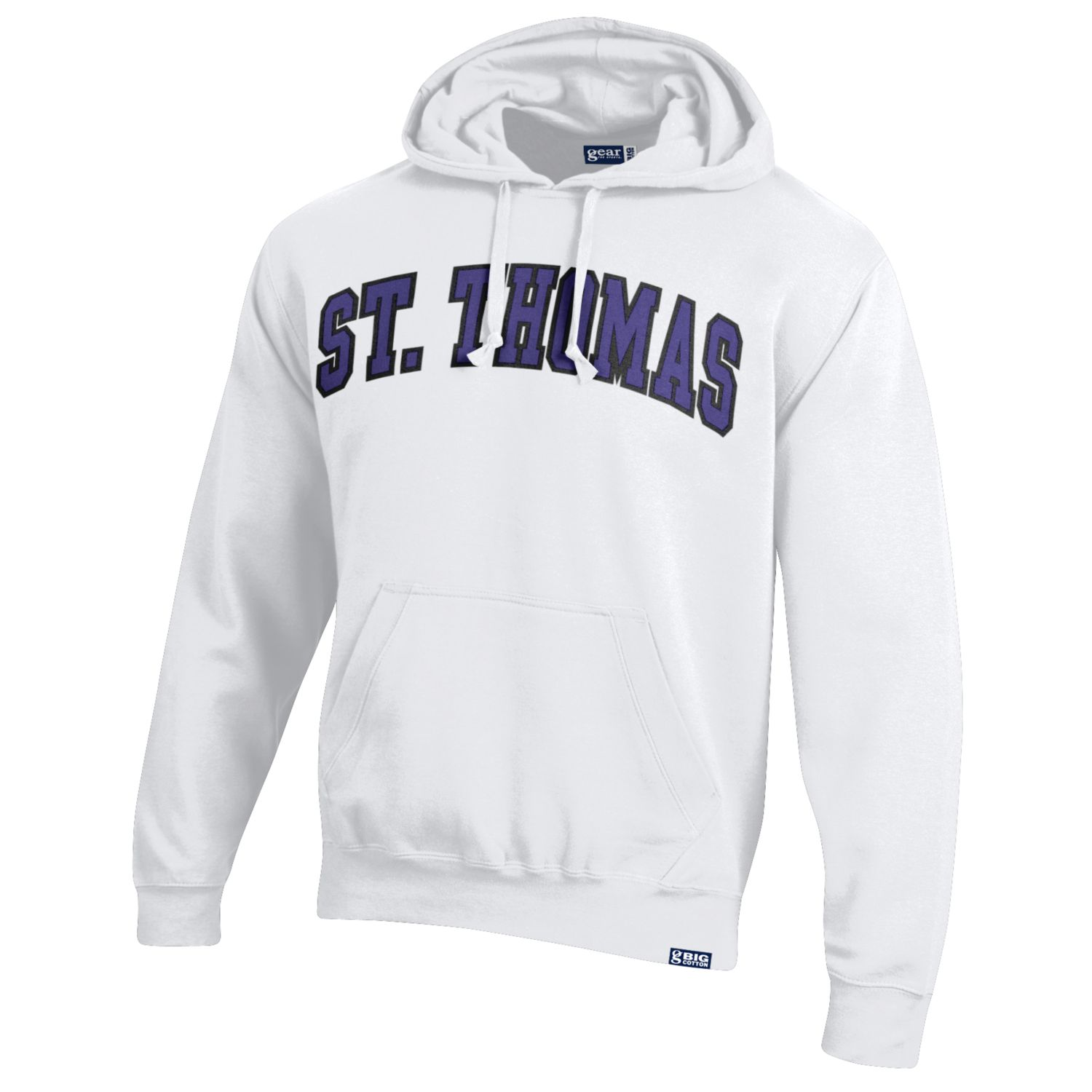 photo of a white sweatshirt  that says St. Thomas in large purple letters.