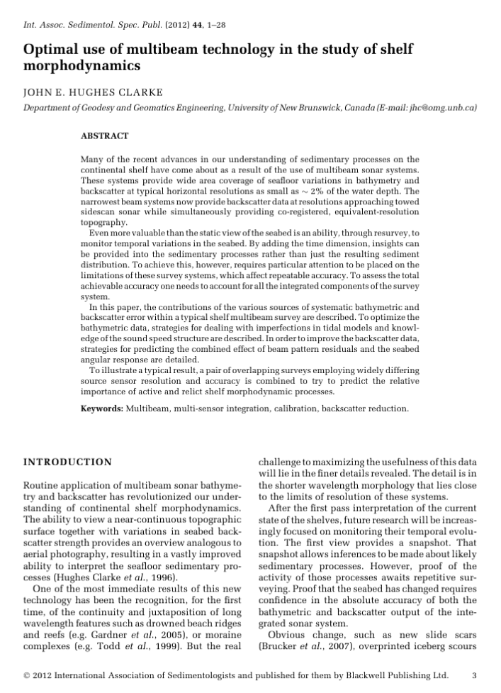 """screen shot of the first page of a chapter in the edited volume. The title is """"Optimal use of multibeam technology in the study of shelf morphdynamics"""" by John E Hughes Clarke.  The first page has an abstract and the beginning of the Introduction section."""