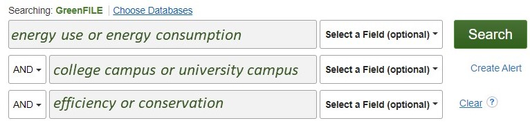 """screenshot of greenfile search boxes. The first box has the words """"energy use or energy consumption""""; the second box has the words """"college campus or university campus""""; the third box has the words """"efficiency or conservation"""""""