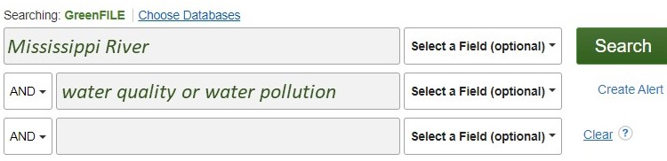 """screen shot of the Greenfile search boxes. The first box says """"Mississippi River"""" the second box says """"water quality or water polution"""""""