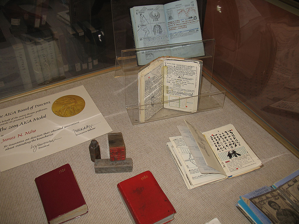 James Miho, a Japanese American graphic artist's conceptual diaries on display at the Asian Reading Room. Library of Congress Asian Division.