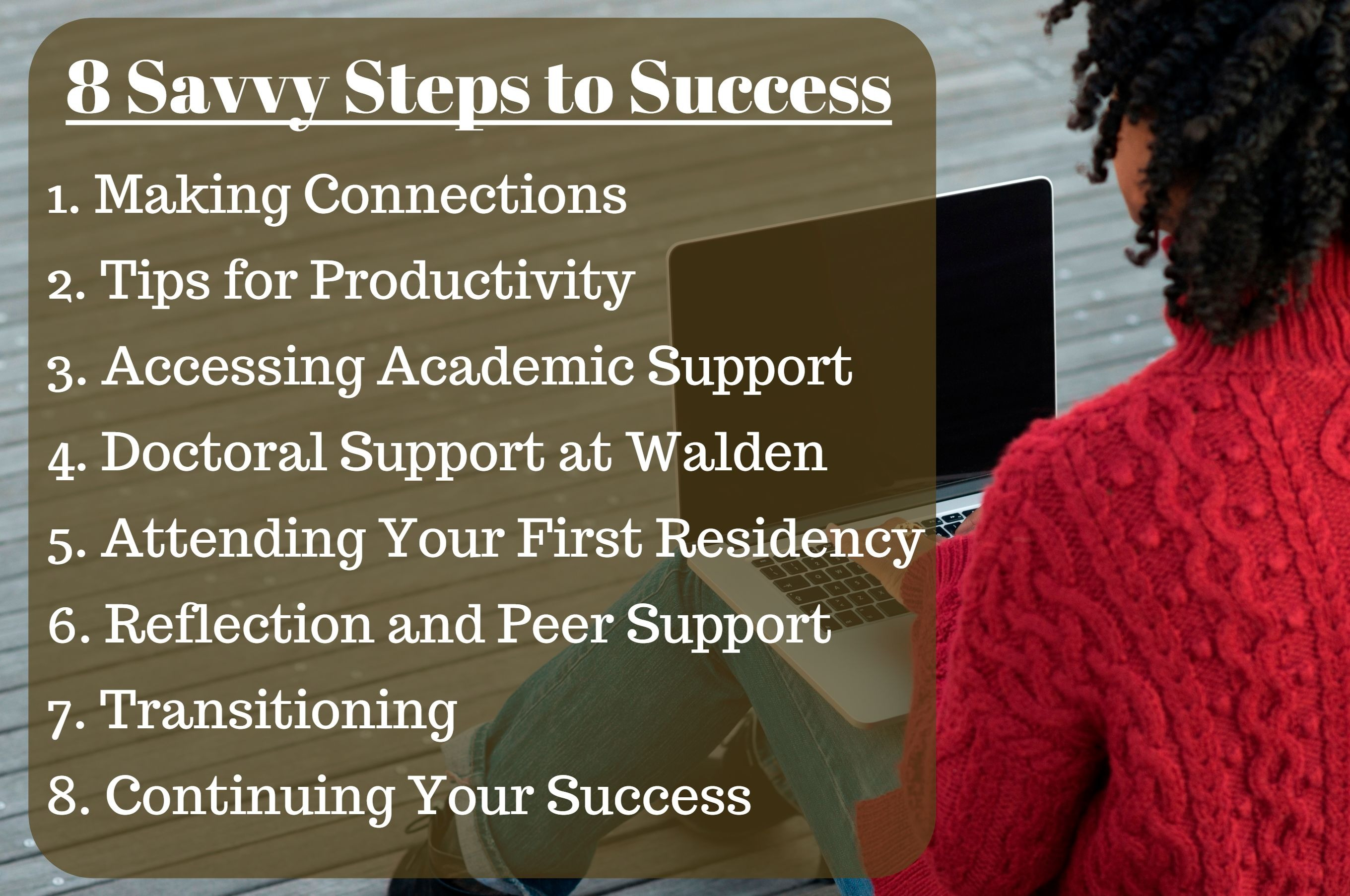 8 Savvy Steps to Success: 1. Making connections, 2. Tips for Productivity, 3. Accessing academic support, 4. Doctoral support at Walden, 5. Attending your first residency, 6. Reflection and peer support, 7. Transitioning, 8. Continuing your success