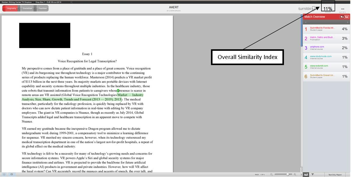 Image of Turnitin report showing where to find overall similarity index in top right corner