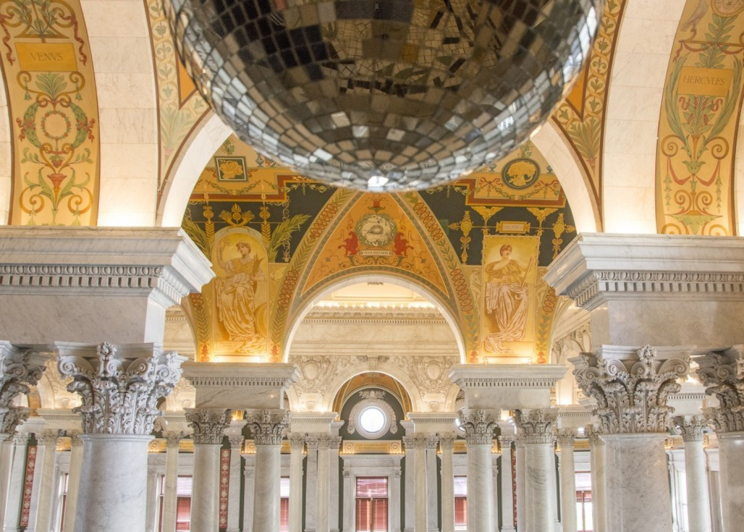 Disco ball hanging in Library of Congress