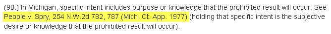 Case law,  People v. Spry, 254 N.W.2d 782, 787 (Mich. Ct. App. 1997), listed in reference section of article.