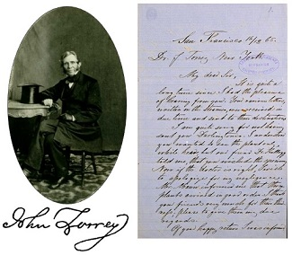 John Torrey portrait and signature and letter from Henry Bolander