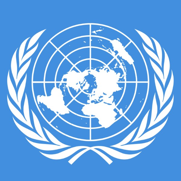 The flag of the united nations: a view of the earth from the north pole surrounded by laurel leaves