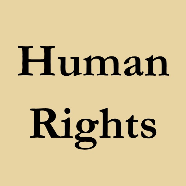 human rights (black text on gold ground).