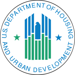 Circular medalion with the Department of Housing and Urban Development logo in the center surrounded by the agency name. The logo is a stylized blue and green eagle.