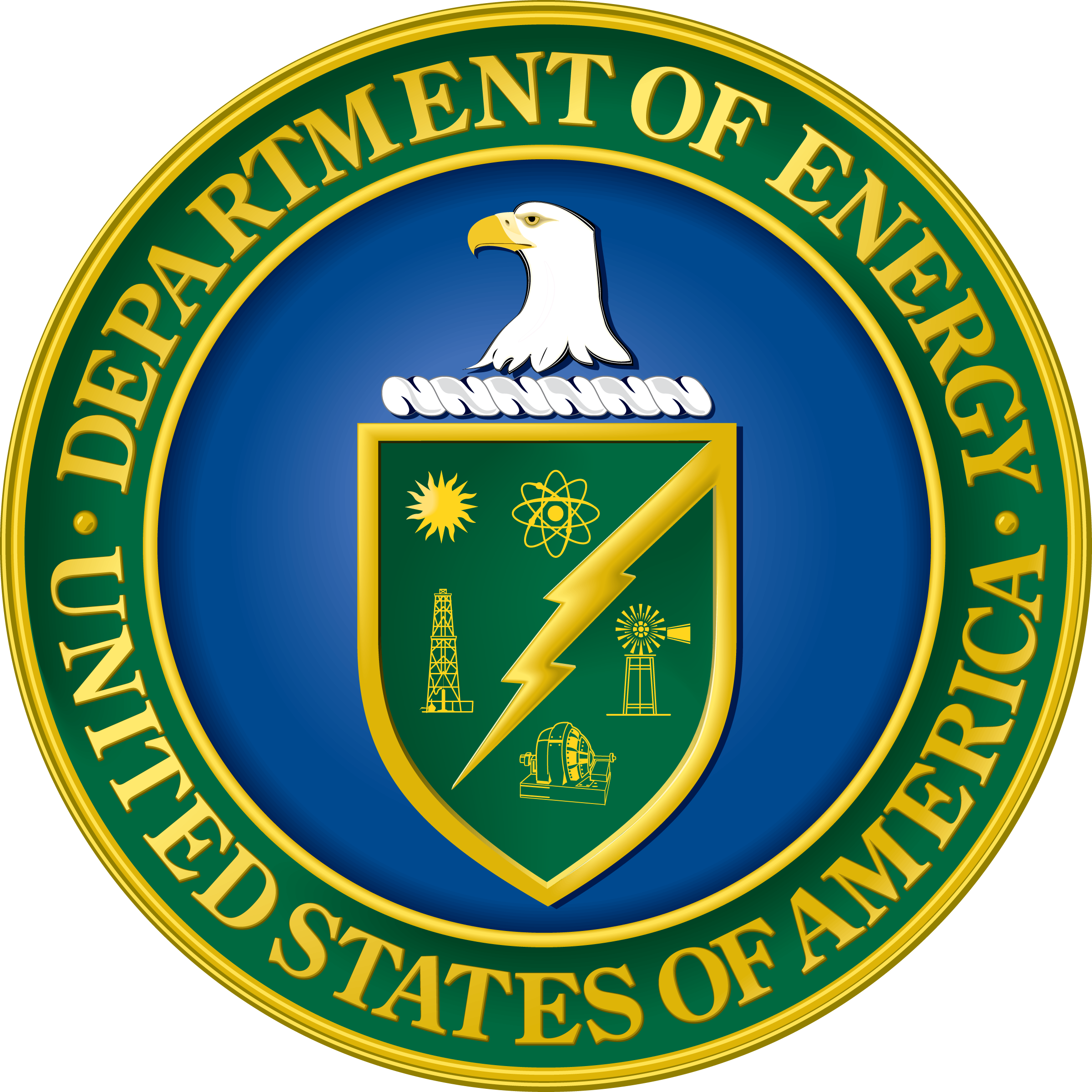 a circular medalion with the Department of Energy seal, which depicts the head of an eagle over a sheild with various methods of producing power and a lightning bolt encircled by the agency name.