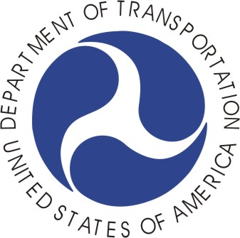 A circular medalion with the name of the agency surrounding the DOT logo.