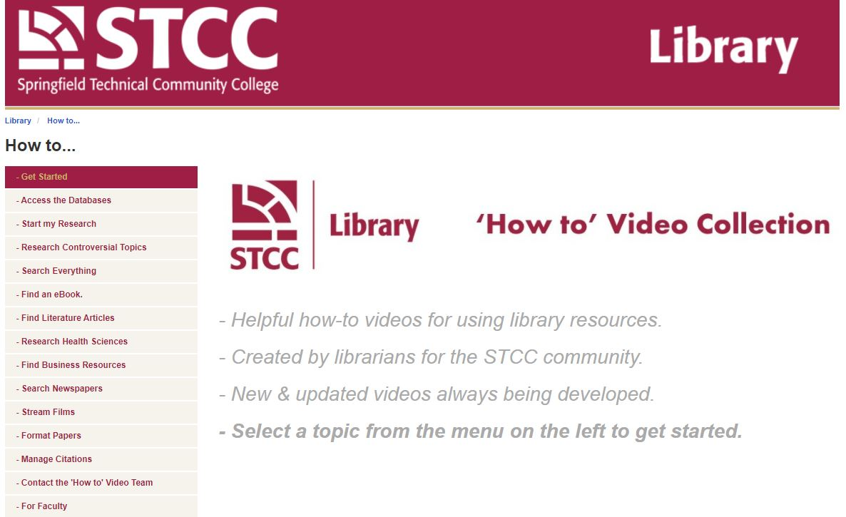 Screenshot of How to Video  Collection LibGuide
