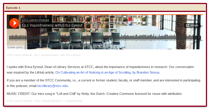 Screenshot and Link for STCC Library Podcast page