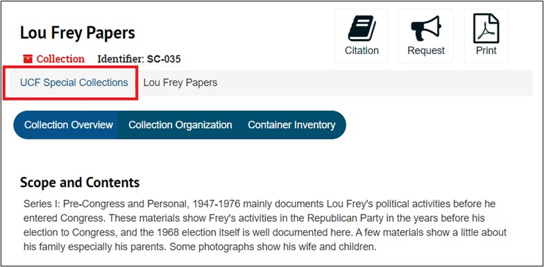 On the Collection's finding aid page, it tells you which repository it is found in at the top under the Collection's name and identifier.