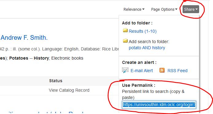 screenshot of permalink sharing option in fusion