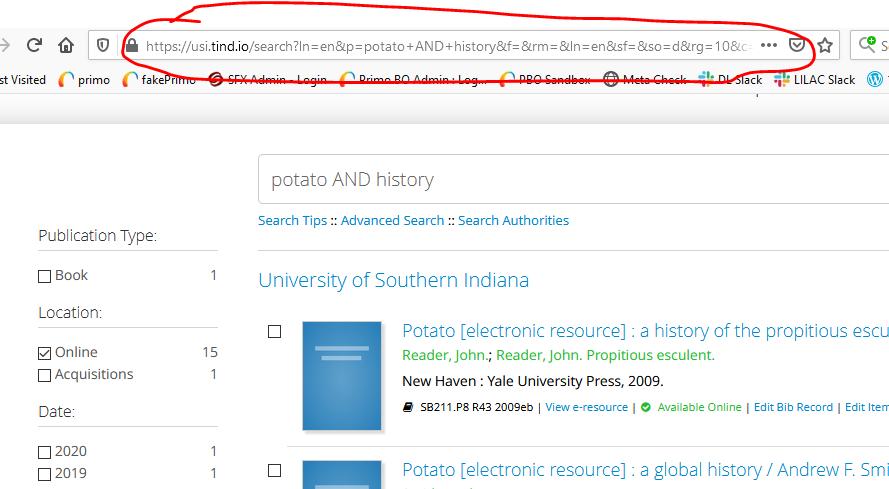 screenshot of tind searching URL