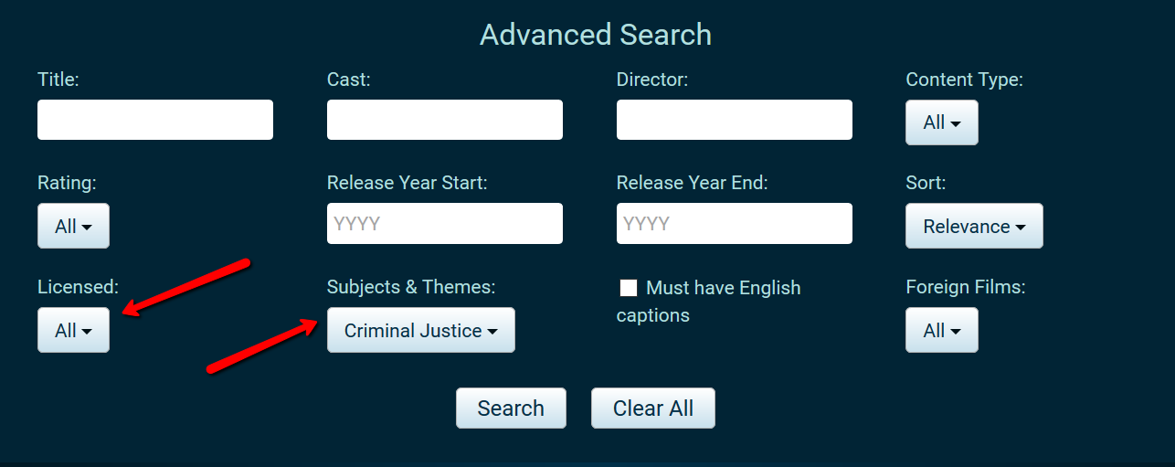 Screenshot of Swank advanced search fields and options. Arrow pointing to Licensed and Subjects & Themes areas