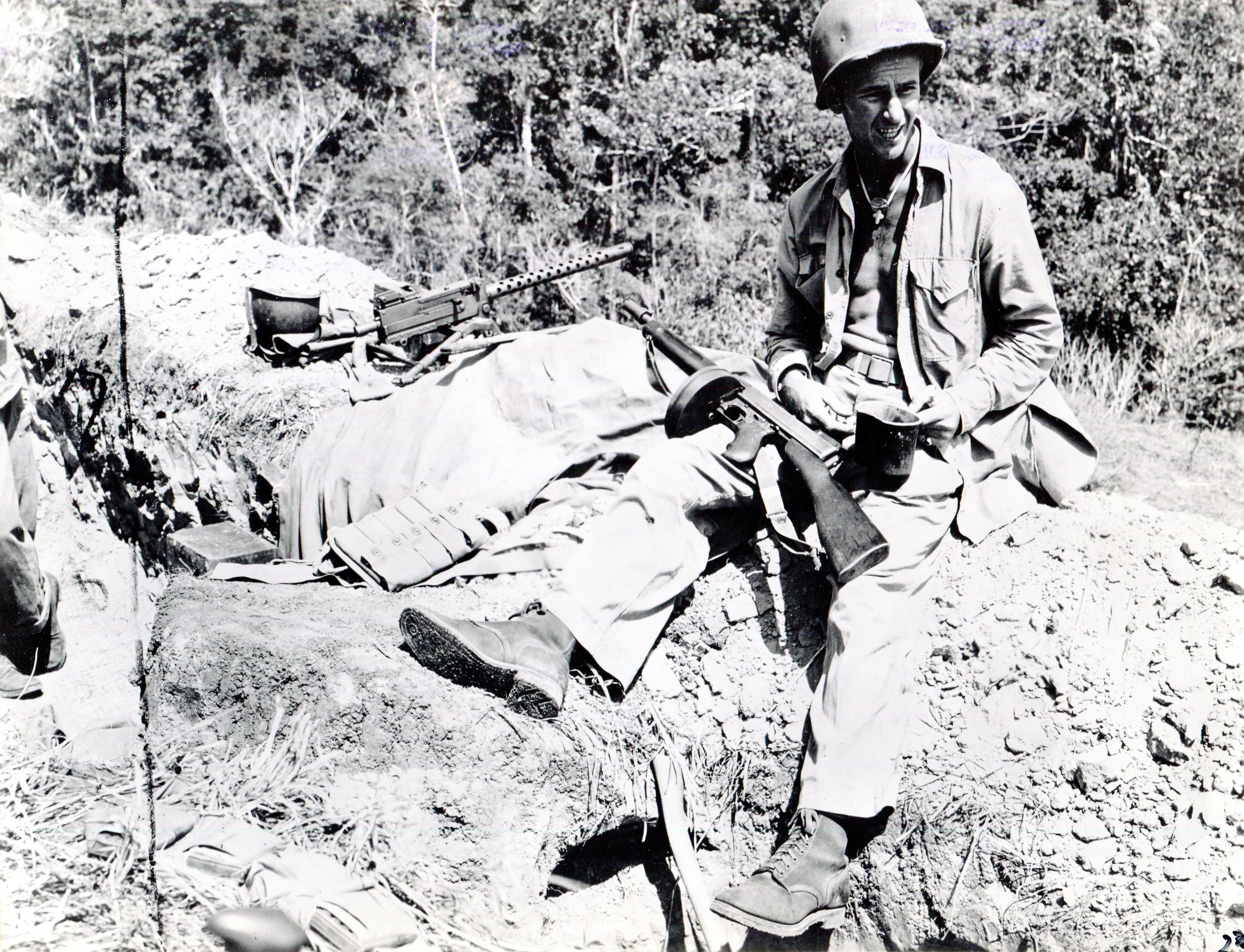 Machine gunner on Guadalcanal