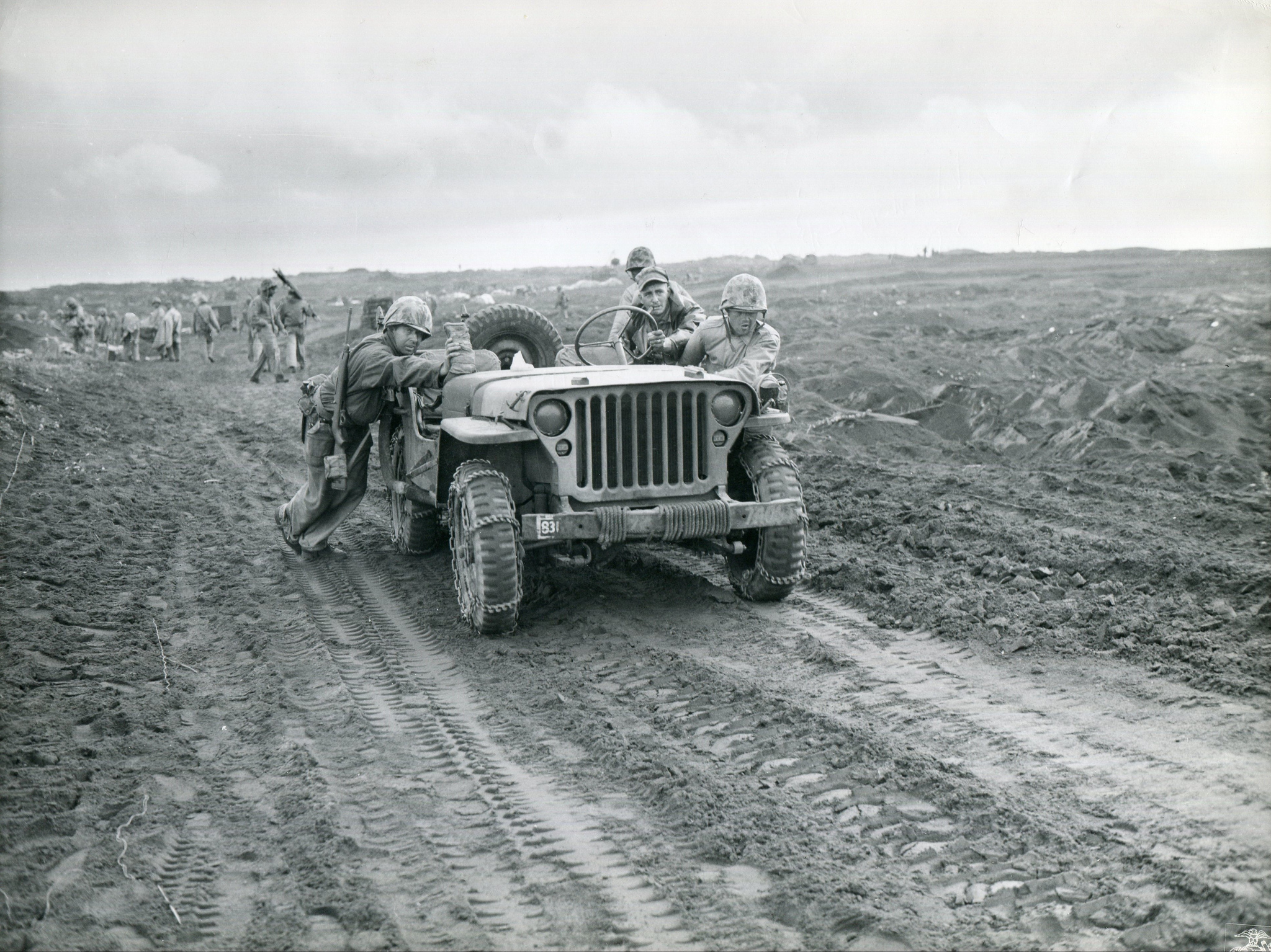 Jeep on Iwo Jima, February 1945