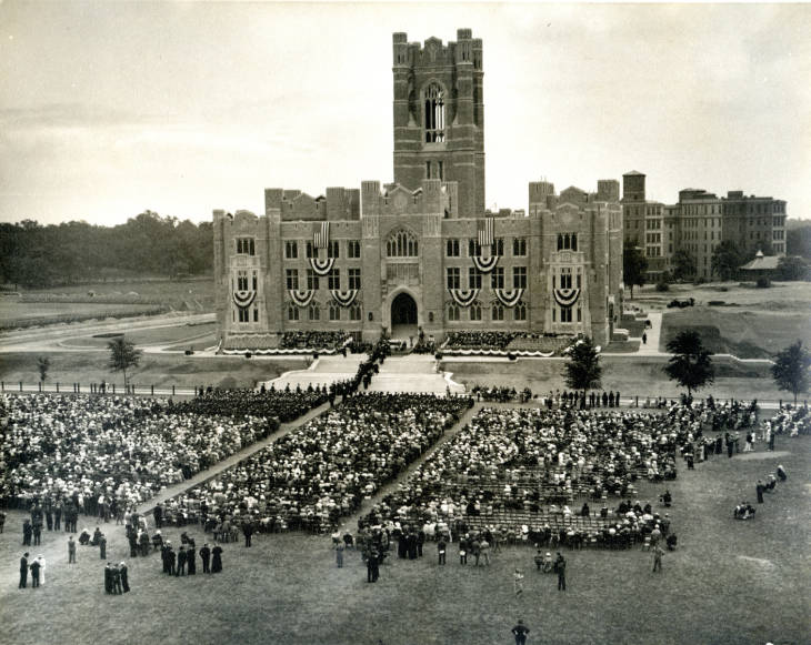 Aerial view of Commencement in front of Keating Hall circa 1940.