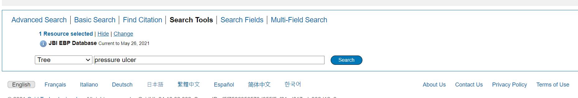 JBI search options