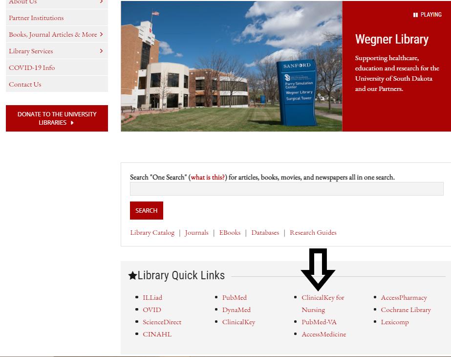 Wegner Library homepage