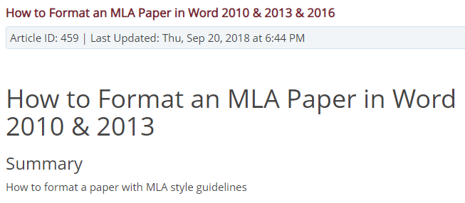 How to Format an MLA Paper in Word
