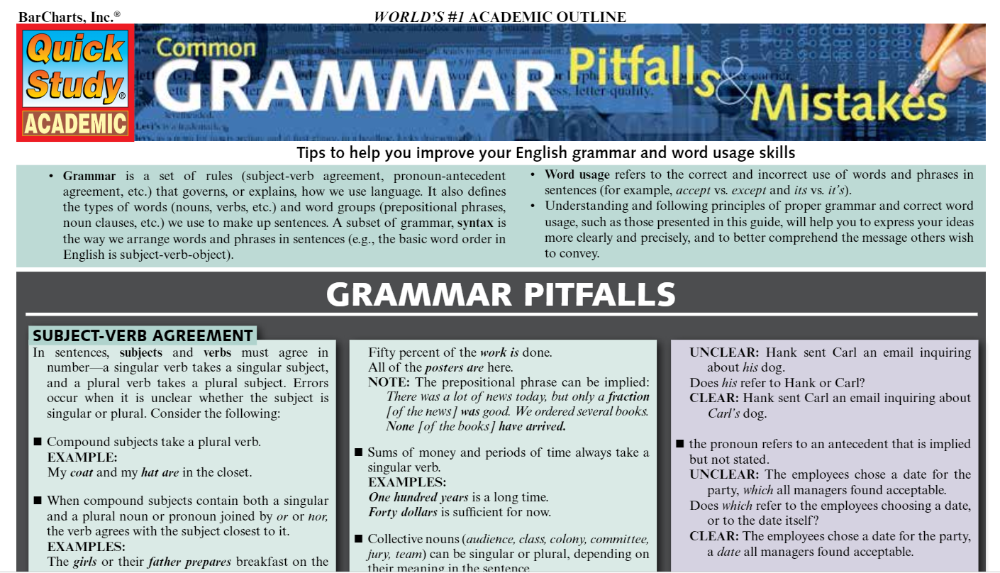 Quick Study Academic Common Grammar PItfalls and Mistakes