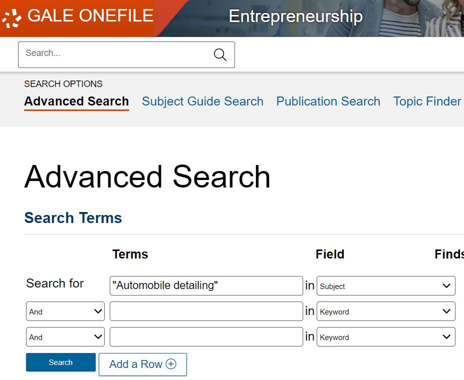 Gale OneFile Entrepreneurship Automotive Detailing