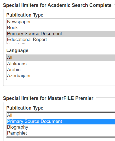 Primary Source Document Limiter Ebsco