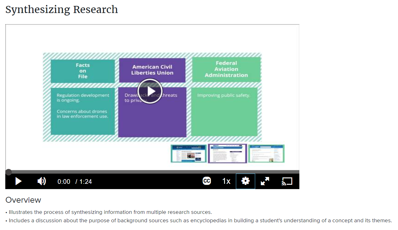 Synthesizing Research Video from Credo Reference