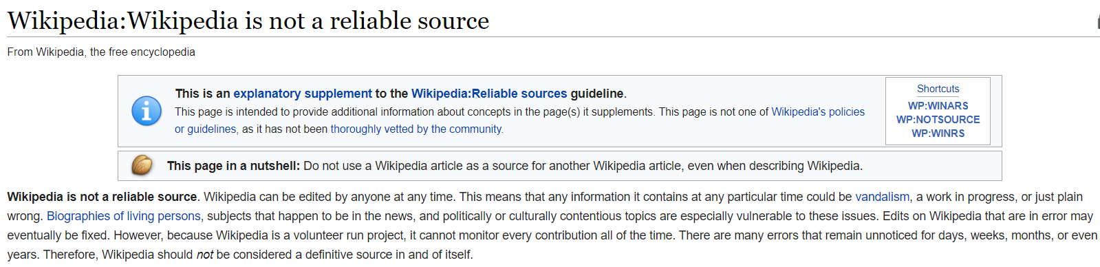 Wikipedia is not a reliable source