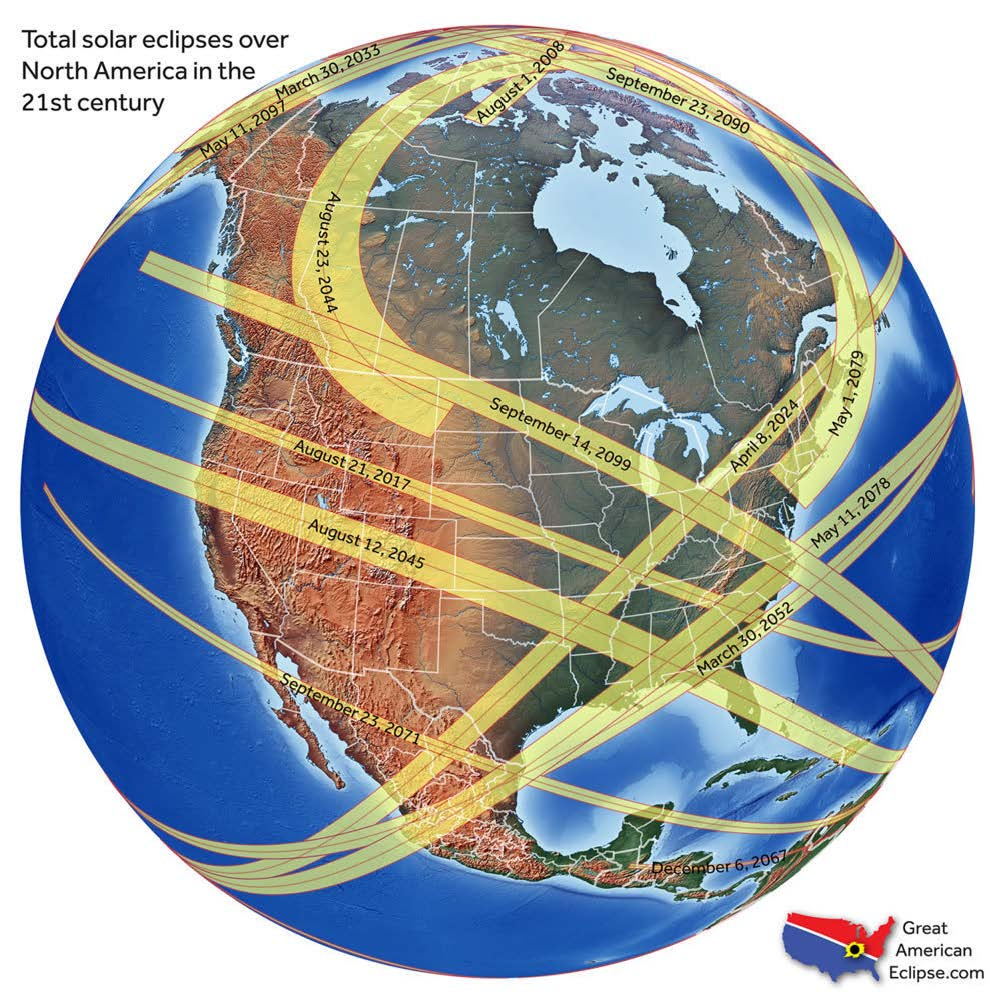 Image of total solar eclipses over North America.