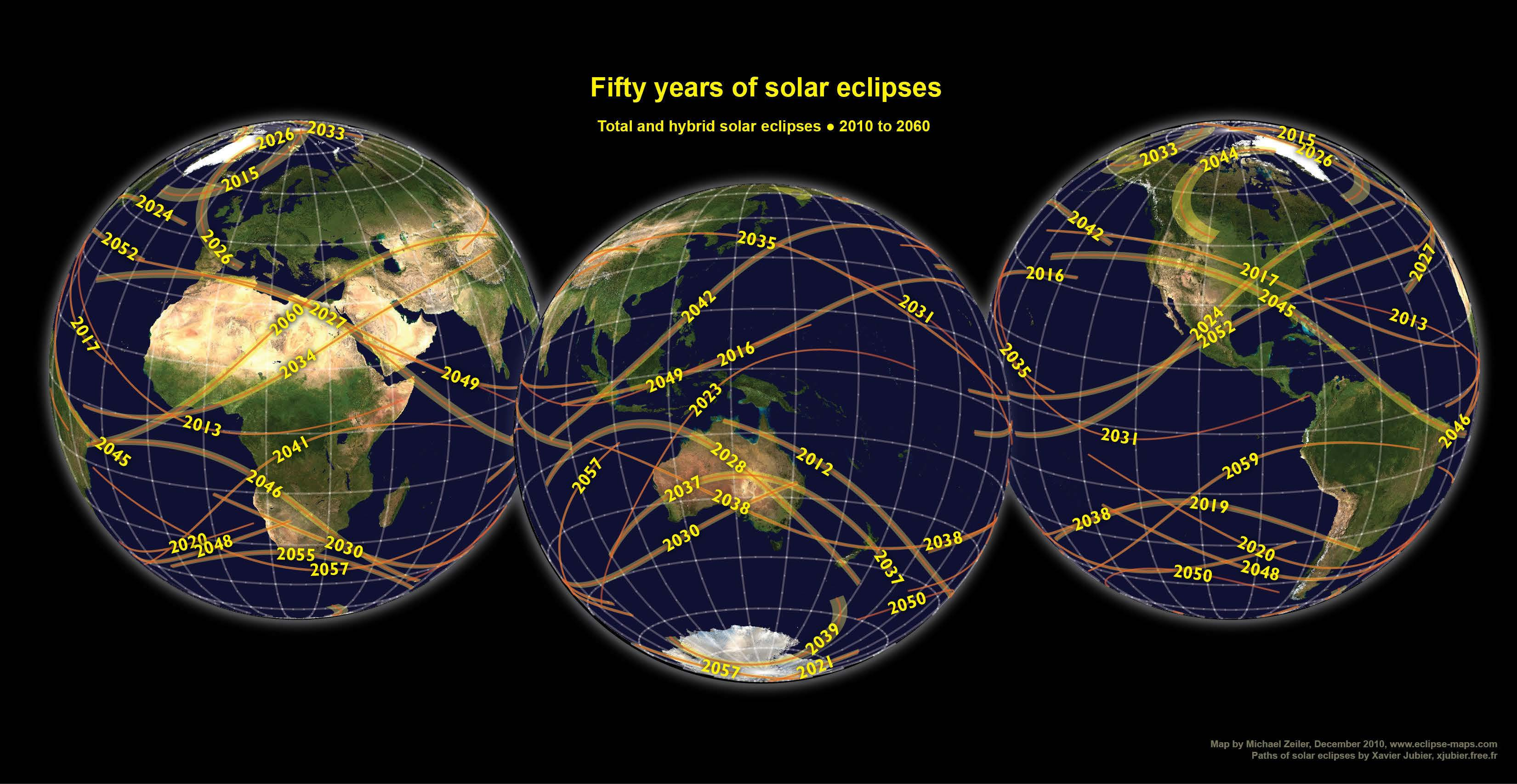 50 years of solar eclipses.