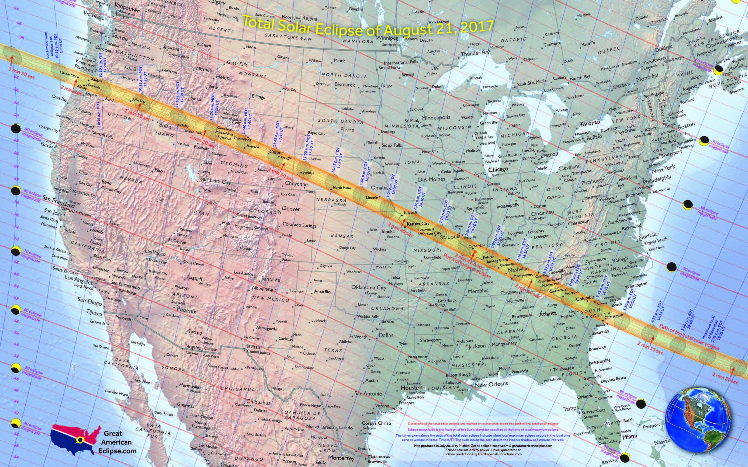 Path of the August 21, 2017 total solar eclipse over North America.
