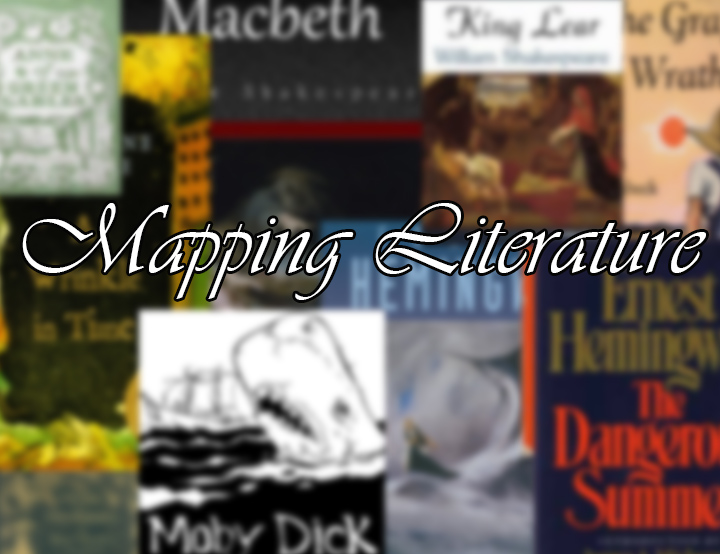 Image of book covers with text Mapping Literature.