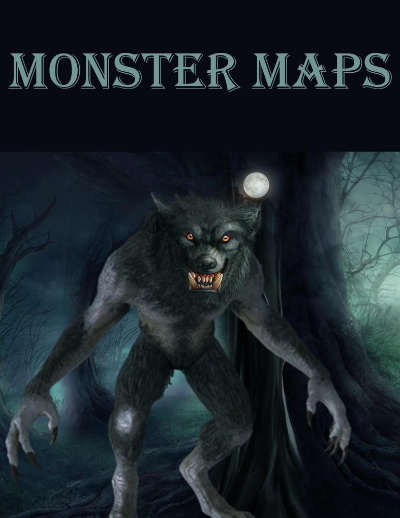 Image of werewolf with text Monster Maps.