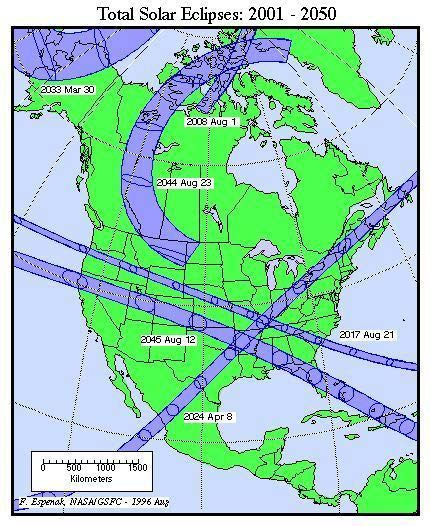 Image of different total solar eclipses over North America from 2001-2050