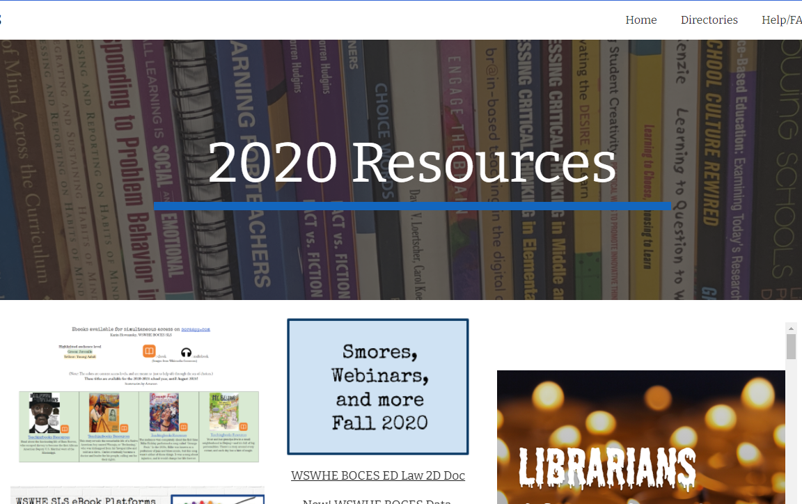 Image of Google site for 2020 resources
