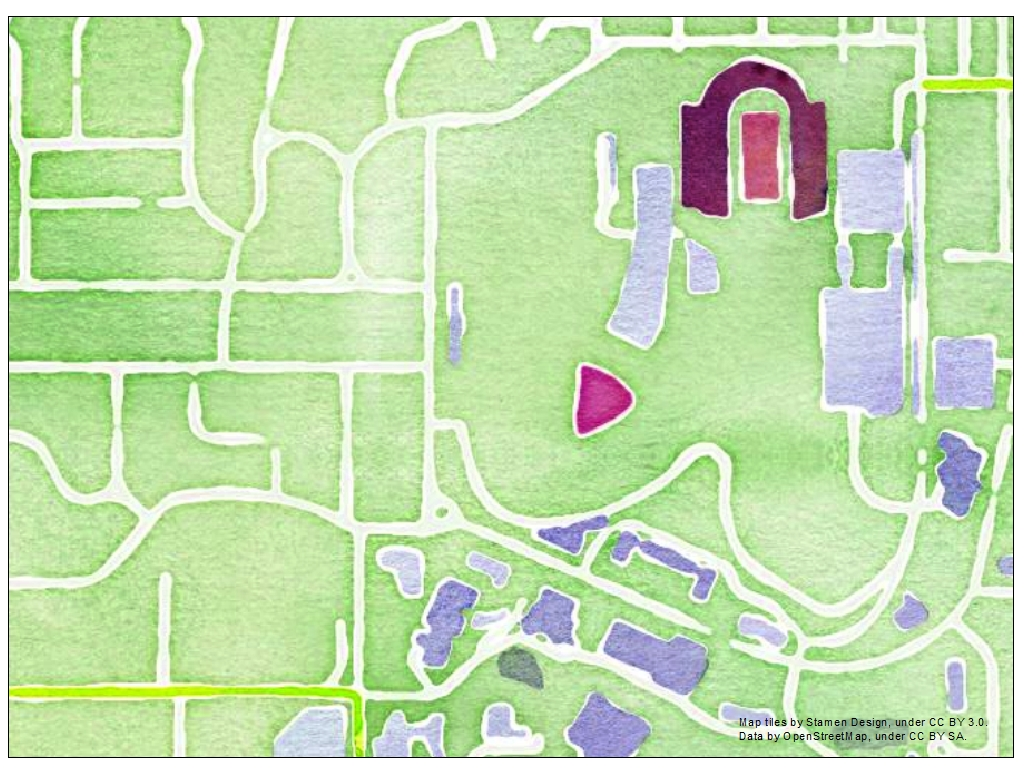KU campus map in watercolor