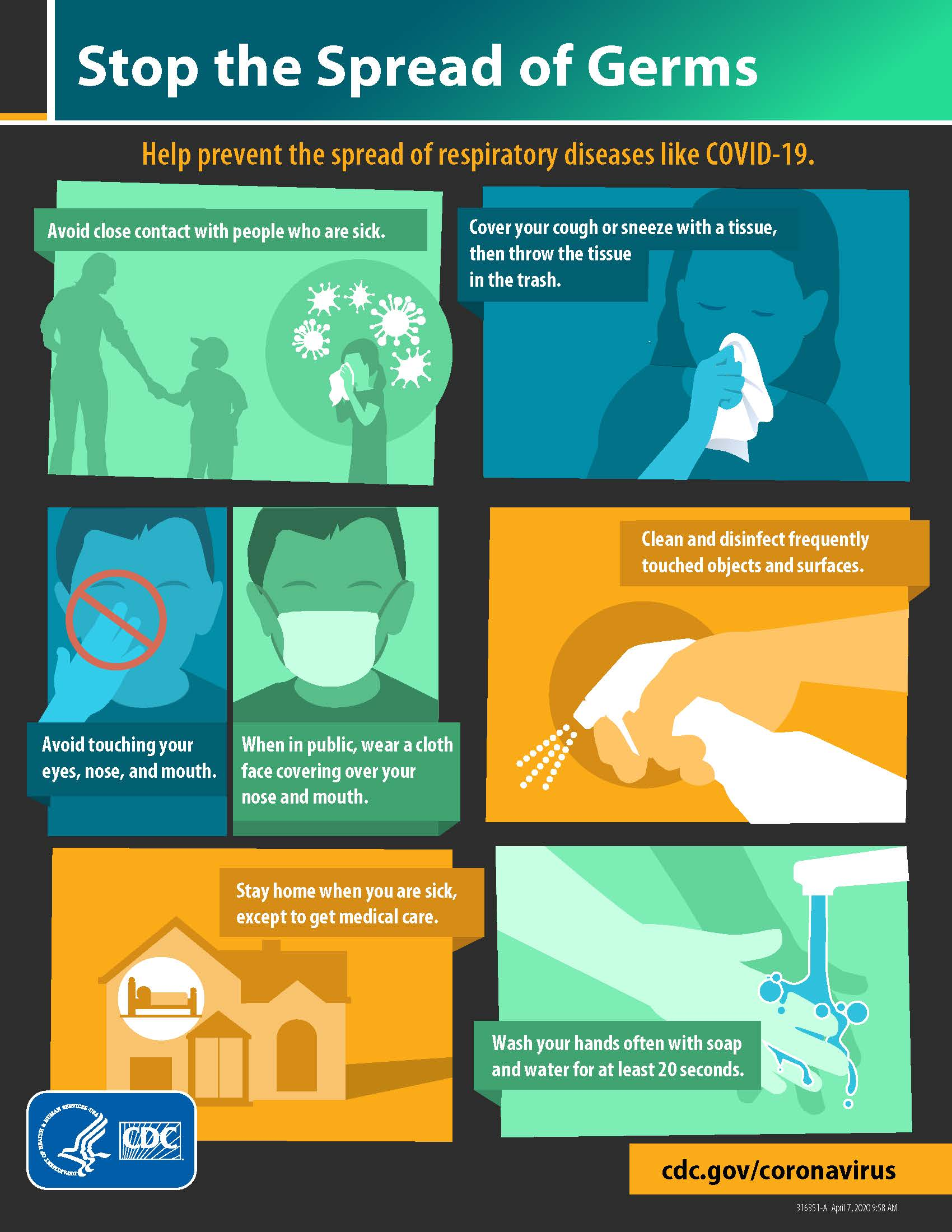 CDC information on how to stop the spread of germs