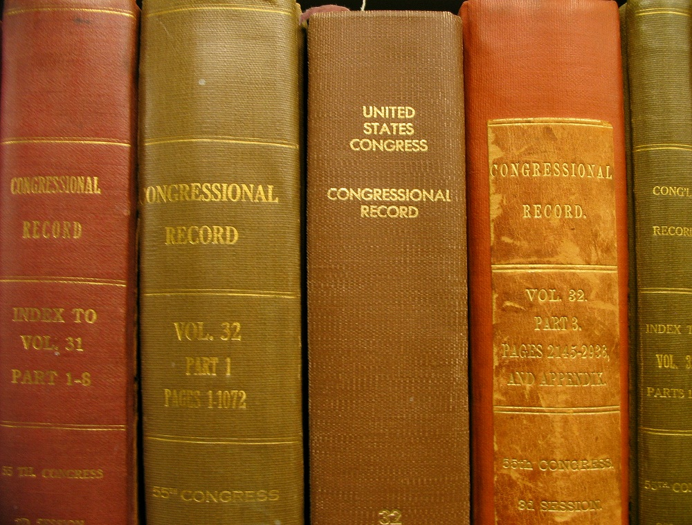Five volumes of the Congressional Record.