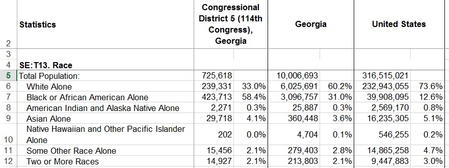 An example of raw data taken from an Excel spreadsheet regarding race in the Congressional District 5 in Georgia.