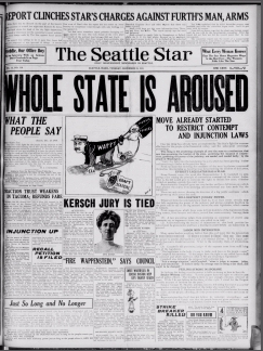 "Black and white image of the frontpage of ""The Seattle Star,"" with the headline: ""Whole State is Aroused."""