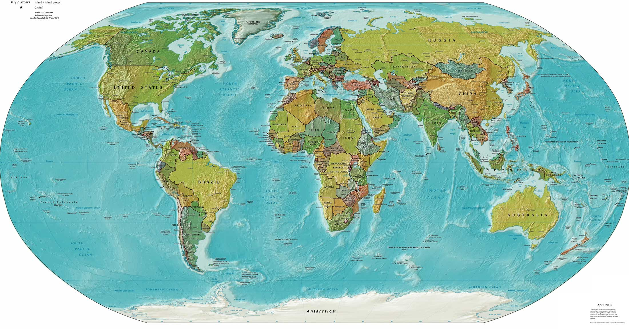 Colored, geographic map of the world.