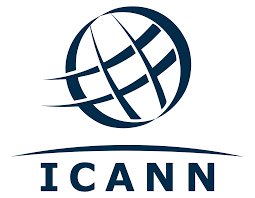 ICANN logo, with a circular shape and a crosshatch design